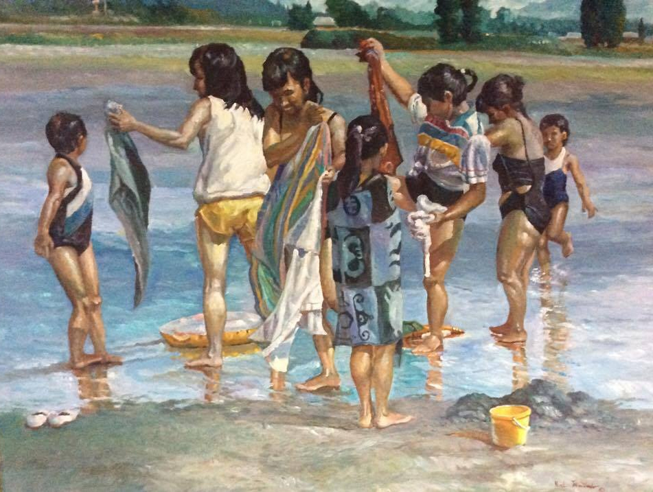 Sisters and Nieces on the Beach,  1999, oil on canvass, 36' x 48'