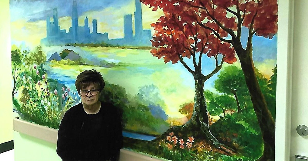 Her mural,  Four Seasons  (2017), is at Kindred Hospital North in Chicago. (Photo courtesy of Corazon Pecson Pagnani)