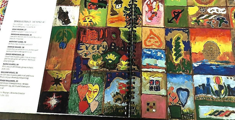 Her patients' mural,  Brainstorm of the Mind , is featured in the book  Kindred Kaleidoscope  (2010). (Photo courtesy of Corazon Pecson Pagnani)