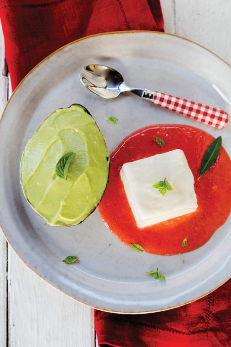 Avocado Mousse with Raspberry Sauce and Lychee Granita
