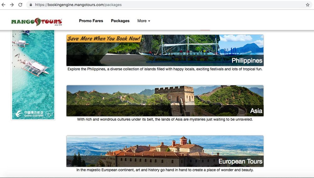 Mango Tours' website