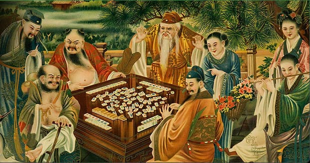 Exquisite rendering of mah-jongg being played in an ancient Chinese setting.