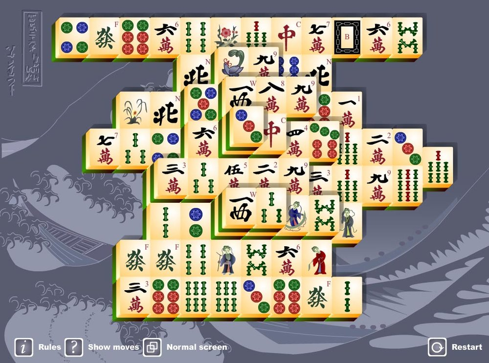 The  www.freemahjong.com  site – an online game you can play solo (i.e., no other digital co-players are needed).