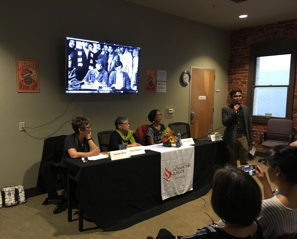 "Asian Law Caucus Panel on ""Reflections  on 1968 SF State Strike,"" July 25, 2018 with Laureen Chew, Penny Nakatsu, and Juanita Tamayo Lott, moderated by Paul Ocampo.  Photo by Richard Wada."
