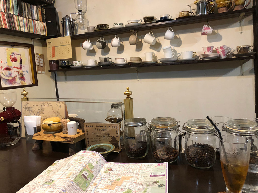 This is the bar of Konaya Coffee whose barista is a woman from Osaka. In many places I've been to around Kyoto, I've seen women running their own cafe. (Photo by Criselda Yabes)