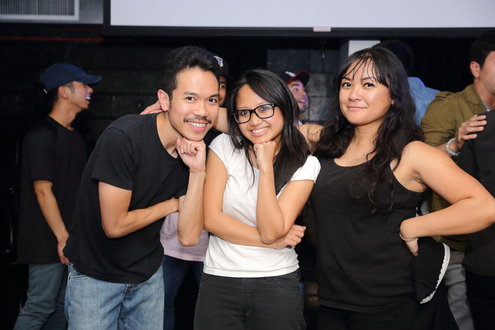 Filipino AF hosts / producers Erich, Allyn, and Joy at our first show, Oct 13, 2017. (Photo by Tina June)