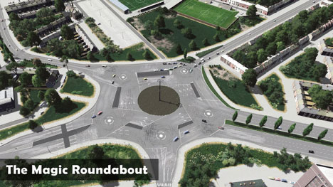 Typical British roundabout; except picture driving around this at night.