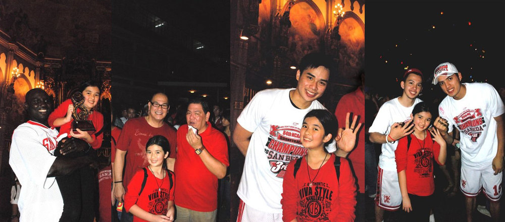 A photo collage of a ten-year-old Maia during San Beda's three-peat in 2008: (1) Little Maia holding the trophy, being carried by the most valuable player (MVP) of the Finals, Samuel Ekwe; (2) San Beda coach Frankie Lim (l) and Maia's  Tito  Gery Sabinosa (r). (3) San Beda player Pong Escobal, sporting three fingers to symbolize three consecutive championships. (4) Team members Chico Tirona (l) and forward Chris Taupa (r).