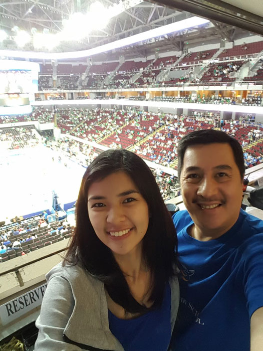 Maia and dad Lito Boncan together, watching an Ateneo basketball game.