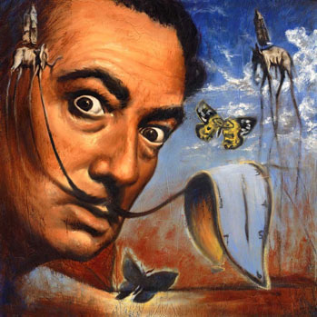 A self-portrait with his trademark moustache and melting clocks.