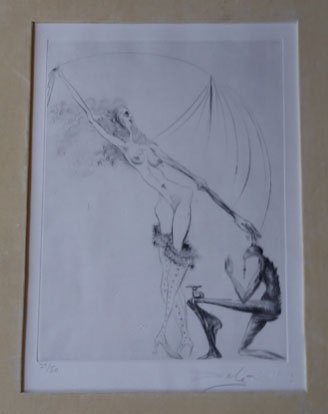 My ink-and-charcoal etching of  La Botte Violette  ,   La Venus Aux Fourrures  suite (#39 of a run of 50) by Salvador Dali, 1969.
