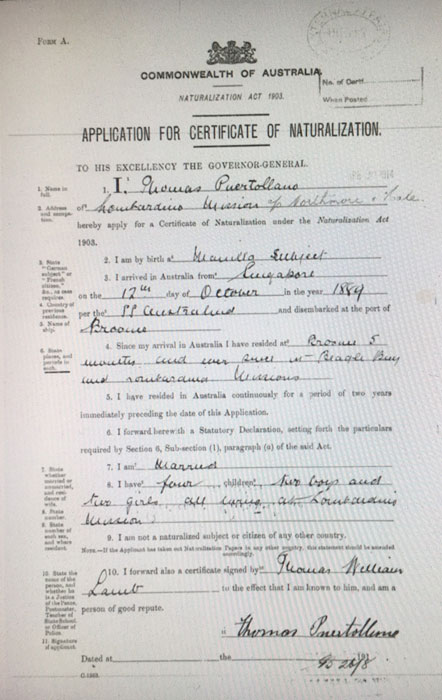 Puertollano's application for naturalization
