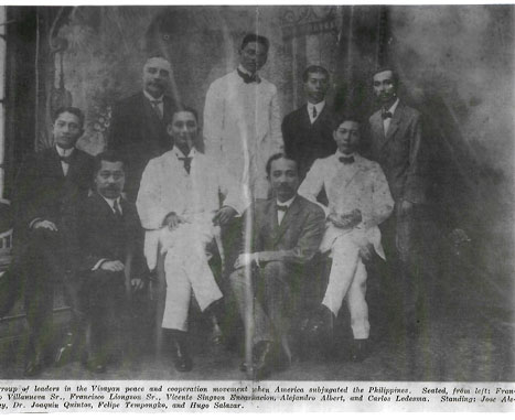 "In the top row, Felipe Tempongko (second from the right) and, to his right his future brother-in-law, Dr. Joaquin Quintos (who became the husband of Demetria Tempongko, Felipe's sister), were fellow members in the U.S.-organized consultative committee called ""the Visayan peace and cooperation movement."" Other members included such dignitaries as Vicente Singson Encarnacion, Alejandro Albert and Carlos Ledesma."