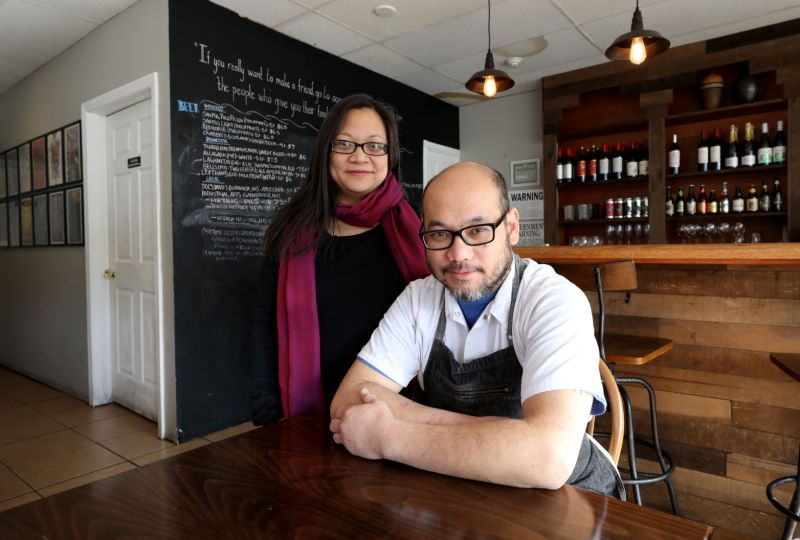 usband and wife owners, Paolo Garcia Mendoza and Cheryl Baun, are pictured at their restaurant Karenderya, on Main Street in Nyack, NY (Source: Yahoo)