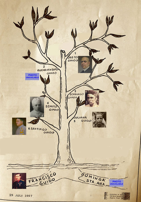 Family tree of Don Francisco and Doña Dominga (Courtesy of Eusebio R. Sison), 1996