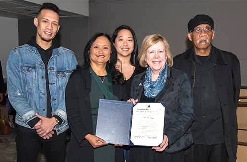 Metropolitan King County Councilmember Jeanne Kohl-Welles (second from right) with Martin Luther King, Jr. Medal of Distinguished Service recipient Cindy Domingo (second from left) and her family. (Source: King City Council)