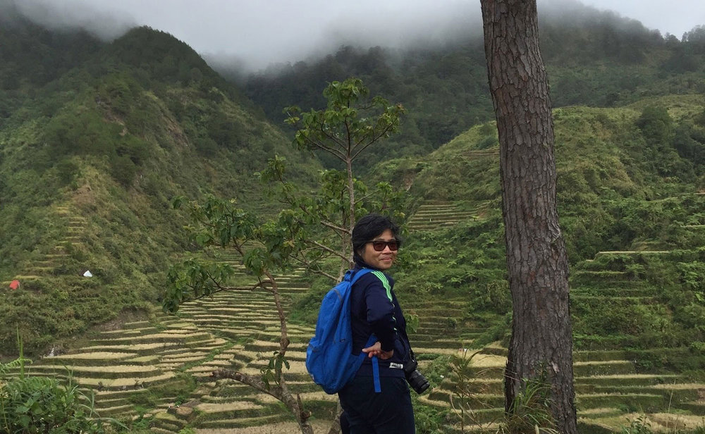Candy and the rice terraces of Maligcong (Image courtesy of Candy Gourlay)