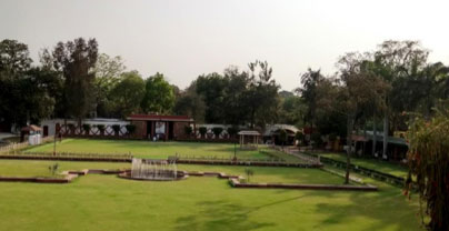 The deceptively serene gardens at the back of the Brila mansion. The small gazebo slightly off-center in the background is where Gandhi was assassinated by Hindi fanatics while he was saying his afternoon prayers.