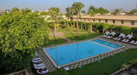 The inner courtyard of the ever so discreet Trident Hotel in Agra.