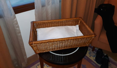 First, this is how it came back to me in the room. Was baby Moses somehow dropped from this basket?  (Author's personal collection.)