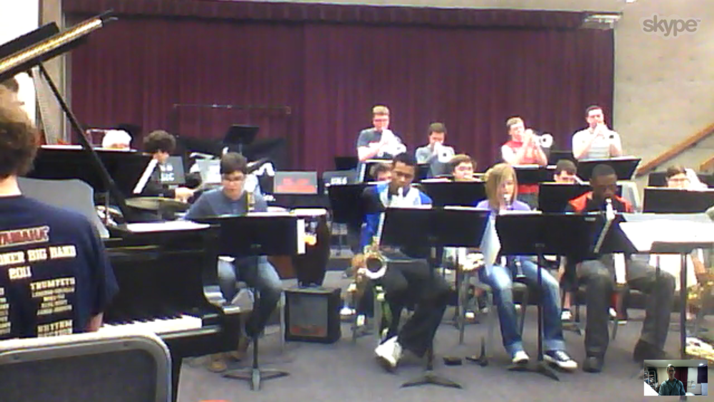 Skype-ing in a rehearsal visit with the University of Nebraska-Omaha Jazz Ensemble (I'm the little guy in the lower right corner)