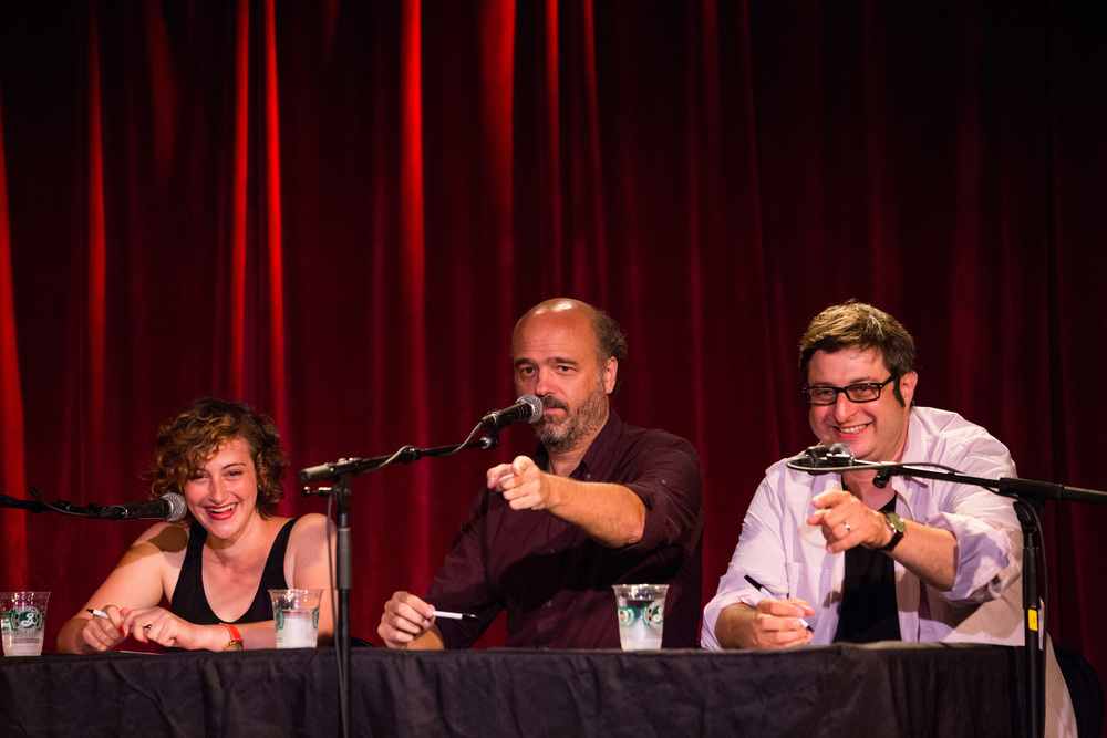 Jo Firestone, Scott Adsit, and Eugene Mirman  Photo by Scott Andrako