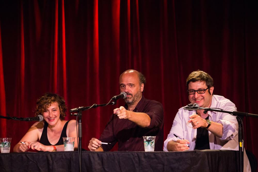 Jo Firestone, Scott Adsit, and Eugene Mirman  Photo by Scott Andrako