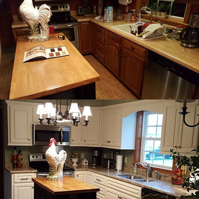 Before and After. Cabinets Refaced, Granite Countertops. #granite #customcabinets