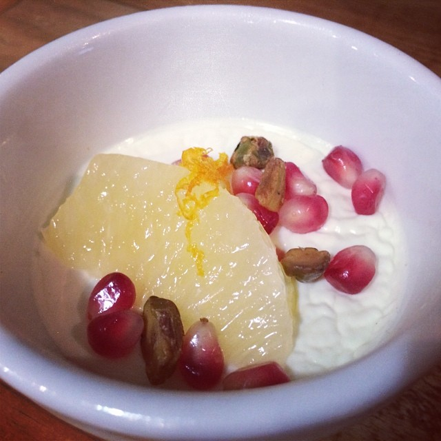 Lemon-Black Pepper Panna Cotta  with Oro Blanco, Pomegranate & Pistachio