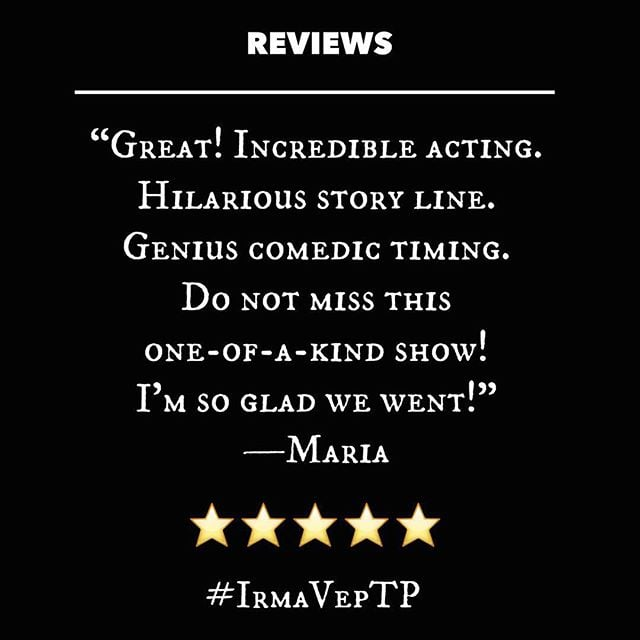 We love a great review! Join us at @theplayerstheatrenyc this Friday for another stellar performance of #IrmaVepTP! Click the link in our bio for tickets!  #offBroadway #mystery #offBway #Downtown #nyc #NYCtheatre #GreenwichVillage #WestVillage #MysteryOnMacDougal #theatre #PennyDreadful #MrNye #MrSellers #Campy #Creepy #comedy #melodrama #farce #ridiculous #thtrprjct #TheTheatreProject #mummy #werewolf #edgar #enid #downton #mandacrest #IrmaVepTP