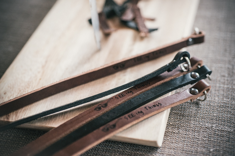 Our custom leather camera straps for Seeing Things Gallery!