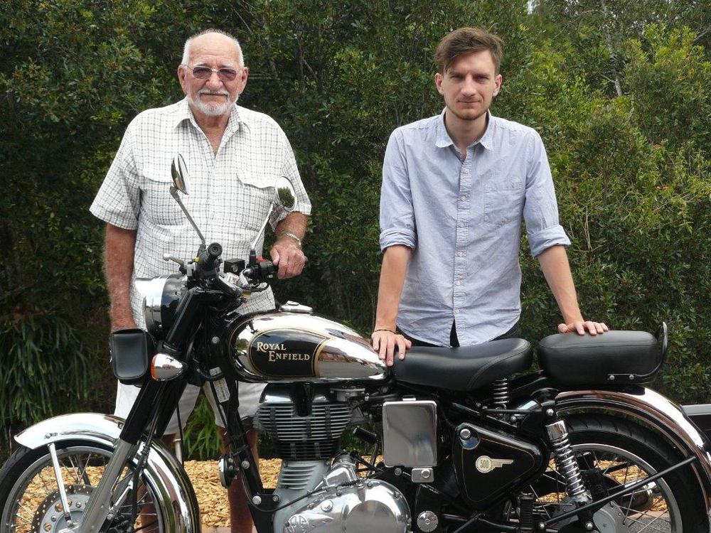 My Grandfather and I on my Dads Royal Enfield