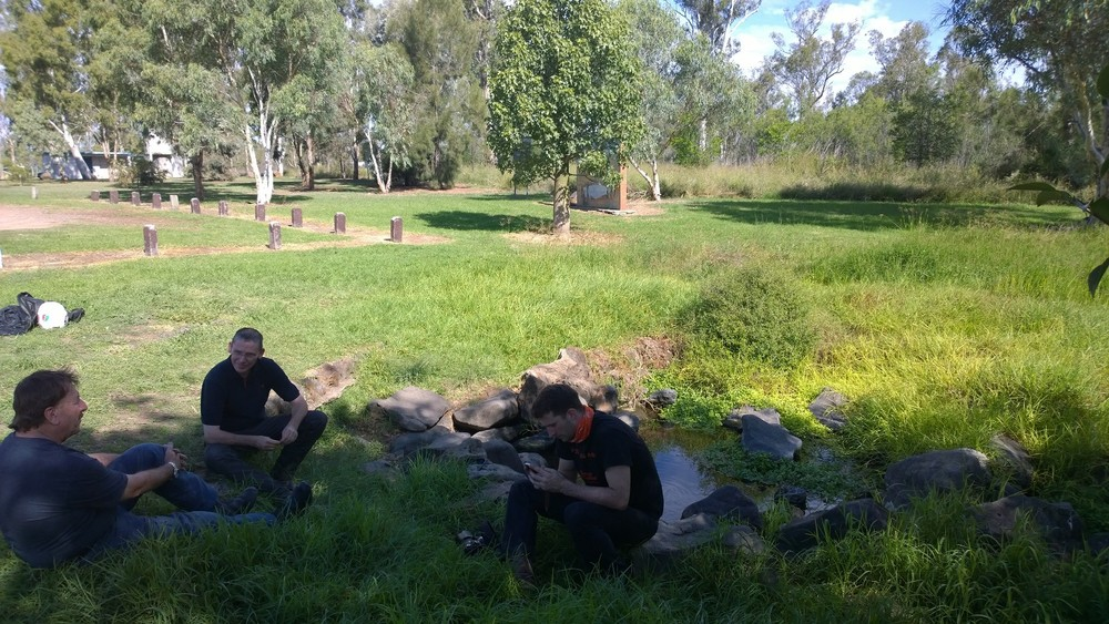 Resting at Ban Ban Springs with Trevor Gibson, Dave Dri and a local rider.