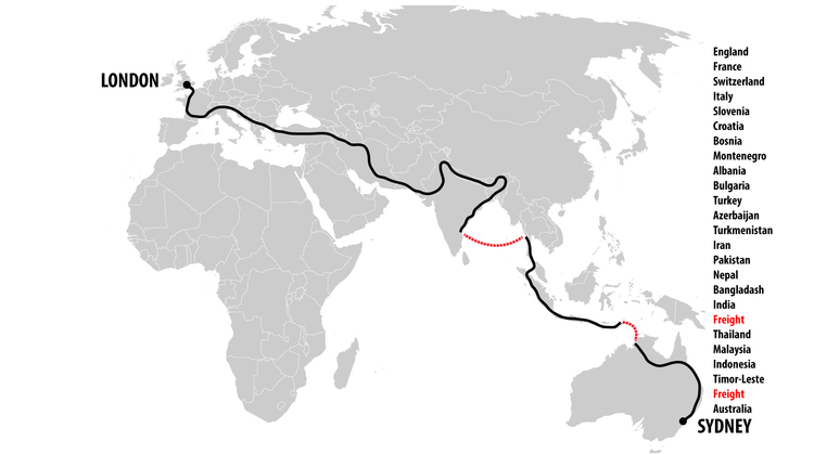The planned route from Sydney to London. January 2014 until whenever.