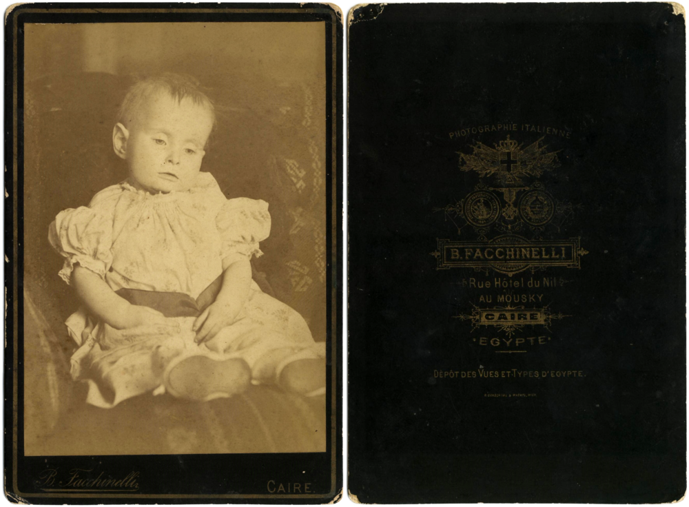 Cabinet card postmortem photograph of a deceased child. Recto and verso images shown. Beniamino Facchinelli (c. 1829 – c. 1897)