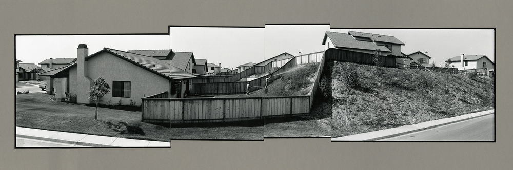 Phel Steinmetz, untitled (fenced backyard), 1986, vintage gelatin silver prints on board, 16 x 44 inches