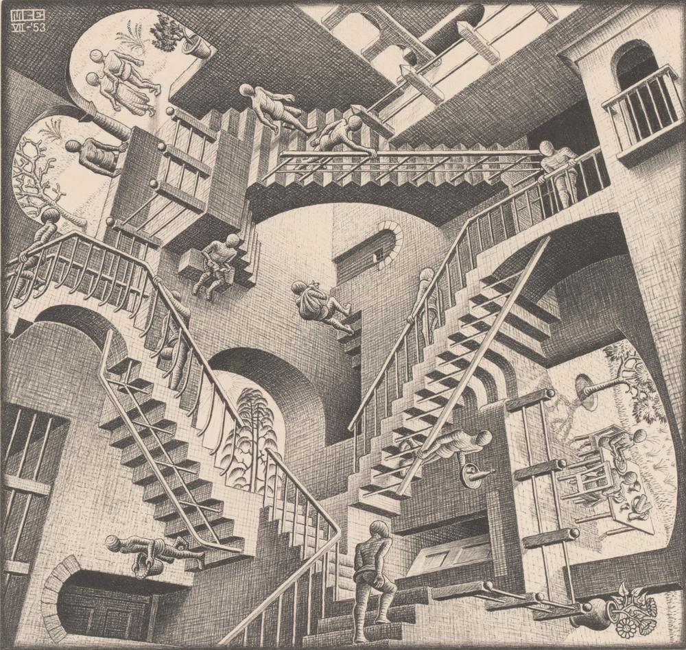 Relativity. M.C. Escher (1953)