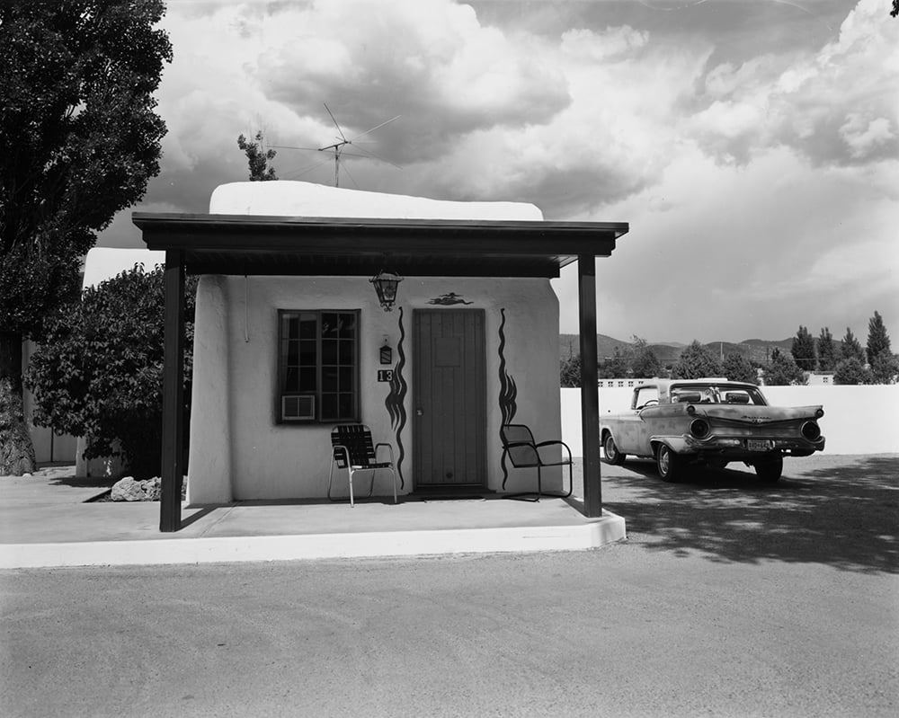 John Schott.  Untitled , from 'Route 66 Motels', 1973. Vintage gelatin silver print. Image courtesy of Joseph Bellows Gallery