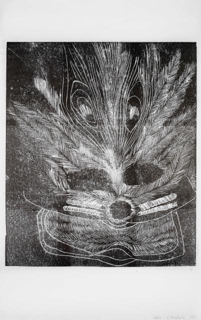 Caroline Achaintre, Peacock with my Eyes. lino cut print. 63 x 40.5 cm. Edition of 10. 200