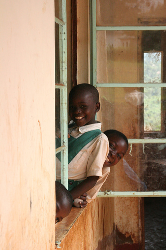 Children saying hi at the Obede School in Kisumu region of Kenya.