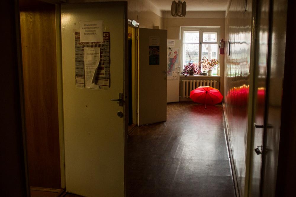 Rainy morning, at the Zapovednik's main office.