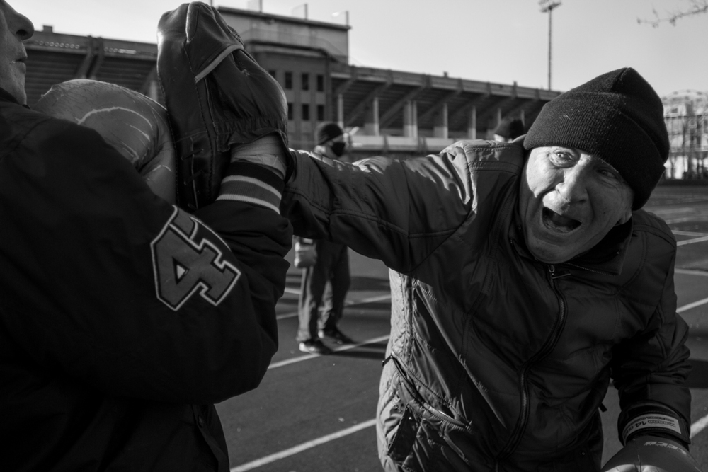 Vadim Evanovich, 66, practices jabs with the clubs coach and fellow boxer Georgi (also 66 years-old). Evanovich was Vladivostok City Champion in 1965-66.