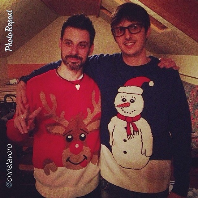 Max & Nik sportin' the ugly Xmas sweaters I brought from london!
