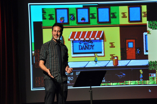steveheisler :     Taken from my recent Mortified appearance at 92YTribeca. Sadly, my dream of playing Bart Simpson Vs. The Space Mutants on a giant screen while hundreds of people watch did NOT occur (and not because that game was/is impossible).   [ 92YTribeca ]