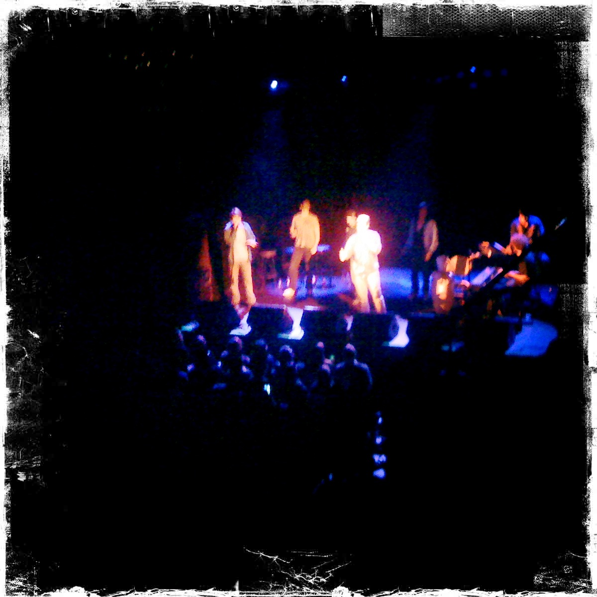 I know they look like bright blobby aliens, but it's really  Freestyle Love Supreme  performing last night at Irving Plaza