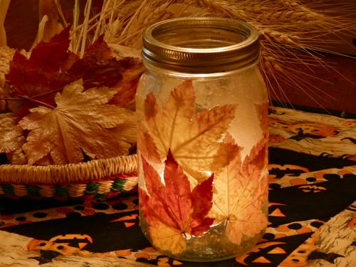 DIY Fall Leaf Candle Jar   (via  Lovely Undergrad )