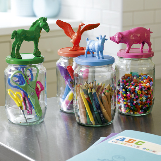 DIY Animal Top Jars   Cute! Color! Organization! These are a few of my favorite things   (via  Ohdeedoh )