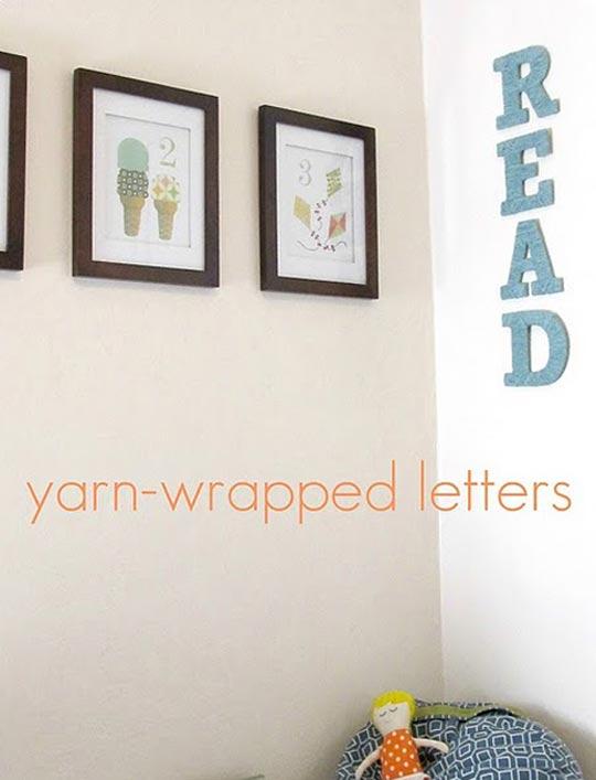 Yarn wrapped letters DIY (via Ohdeedoh)