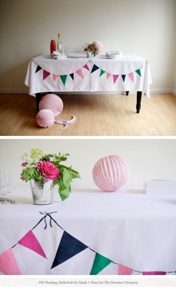 The blogosphere's love affair with bunting continues! Fair enough - this is gorgeous. I need an excuse to have a party.   (via  DIY Bunting Party Tablecloth )