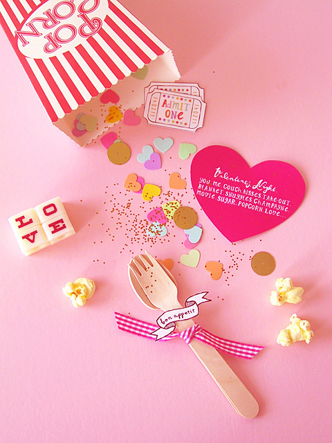DIY Valentine Popcorn Invitation ( for a cosy night in ) » Eat Drink Chic